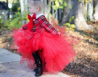 Red Hi Low Tutu Skirt, Girls Tutu Skirt, Tutu Skirt, Girls Tutu, High Low Tutu Skirt, Photo Prop Tutu, Birthday Tutu Skirt, Wedding Tutu