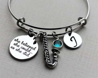 saxaphone bracelet, saxaphone gift, saxaphone bangle, saxaphone charm bracelet, personalized saxaphone charm bracelet, saxaphone player gift