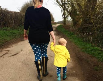 Matching Mummy and Baby Leggings, Navy or Petrol Stars, First Birthday Gift Mini me Cuff Pants Harems to Match, Womens Apparel