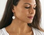 White earrings, polymer clay jewelry, thin sterling silver hoop earrings, geometric earrings,minimal earrings,modern earrings,gift for women