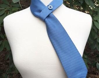 Necktie Scarf upcycled light blue  polka Dot Pattern on Vintage Polyester men's Repurposed Tie