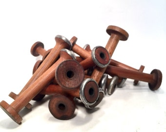 Spools Wood & Metal Small Primitive Industrial Textile Spinning Bobbins 16