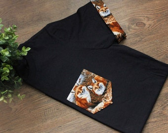 Fox Unisex T-Shirt Pocket & Sleeves