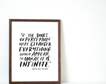 """Hand Lettered """"Doors of Perception/Infinite"""" Quote by William Blake. Black and White Print"""