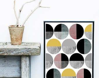 Circle Print, Mid Century Modern, Abstract Art Print, Geometric Print, Giclee print, Wall Art, Wall Decor, Wall Art Prints