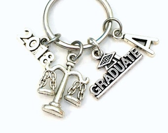 Legal Secretary Graduation Present, 2018 2017 Justice Scale Assistant Keychain Gift for Law School Student Graduate Key Chain Libra Initial