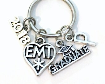 Graduation Gift for EMT Paramedic Keychain, 2017 2018 EMT Student Grad Key Chain Keyring Initial Letter Medical charm Jewelry Attendant him