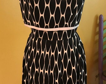 60's black & white awesome print dress