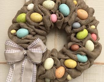 Easter wreath, Easter egg wreath,Natural Easter wreath,Burlap Easter wreath,Easter egg decor,Easter natural,Easter burlap wreath,Easter