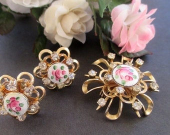 Pin And Earring Set * Openwork Flower * Rhinestones * Pink Rose Guilloche Enamel * Mid Century Classic * Gift For Lady