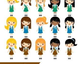 Girl Scouts Clipart / Brownie Clip Art / Daisy Troop Clip Art