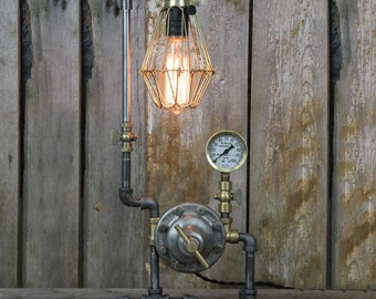 Industrial Desk Lamp made from Steel & Brass - Steampunk Table Lamp - Edison Lamp - Industrial Lighting