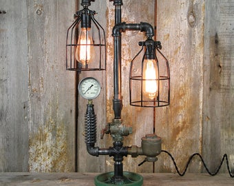 Industrial Table Lamp with Steampunk Styling #34