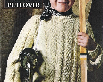 "PDF of vintage children's knitting pattern, cabled sweater/jumper, ""Knit Aran Pullover"", sizes 6 to 12, chest size 24"" to 30"", from 1963."