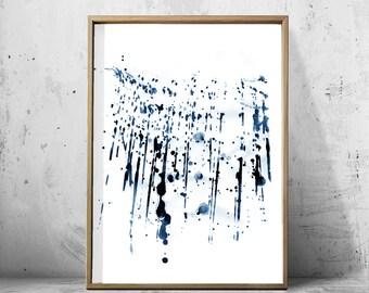 Blue Abstract Watercolor Print Indigo Navy Wall Art Paint Splatter Minimalist Art Digital Download Printable Poster Geometric Brushstrokes