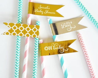 Baby Shower Straw Flags - Personalized Metallic Foil Flag Labels - Baby Straw Tags - Cake Pop Gold Tags - BABY Metallic Gold Cupcake Topper