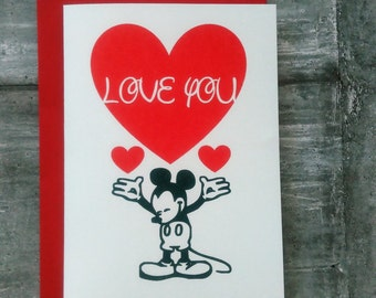 Mickey Mouse Love You Card, Mickey Mouse Valentines card, Disney Valentines, Disney Anniversary Card.