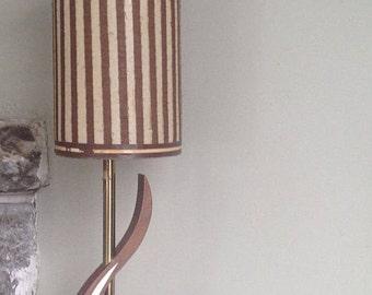 Teak, wood, lambe, vintage, lamp, Lampshade striped, beige