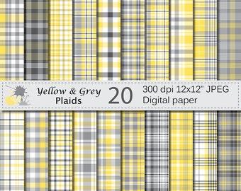 Yellow and Grey Plaids Digital Paper Set, Yellow and Grey Plaid Digital Papers, Plaid Scrapbook Paper, Digital Download