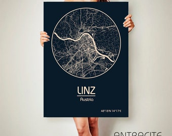 LINZ Austria CANVAS Map Linz Austria Poster City Map Linz Austria Art Print Linz Austria