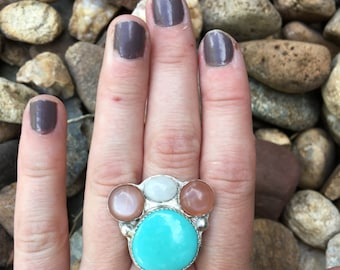 Desert Blossom Ring -Campitos Turquoise, Peach and White Moonstone-