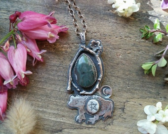 Woods Witch Familiar Totem Necklace// toad, wicca, pagan, goth