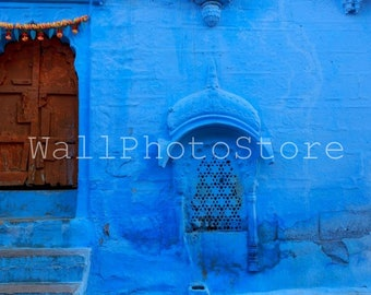 Door Photography, Old Wood Door in Blue City of Jodhpur, Rajasthan, India, Architecture Photography, Fine Art Photography, India Print Art