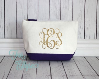 PURPLE Canvas Color dipped Cosmetic bag - Bridesmaid Gift - personalized