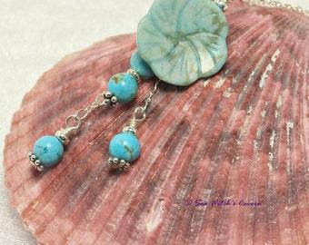 Turquoise Necklace Flower Pendant Blue Necklace Gemstone Jewellery Jasper Pendant December Birthstone Gift 11th Wedding Anniversary  A0455