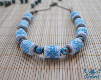 Agate necklace unique gift for her Boho jewelry blue necklace gemstone necklace Fabric jewelry bohemian necklace embroidered jewelry gift
