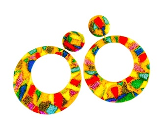 Color Block Earrings/ Colorful Earrings/ Bright Hoop Earrings/ Clip On Fashion Earrings/ Rainbow Hoop Earrings
