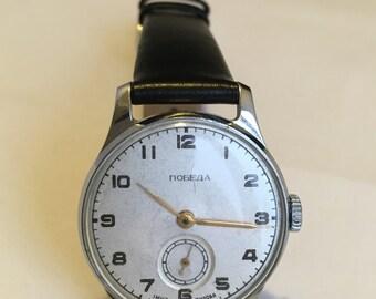 Pearl white Soviet wristwatch, unisex mechanical watch, made in USSR, Pobeda watch factory