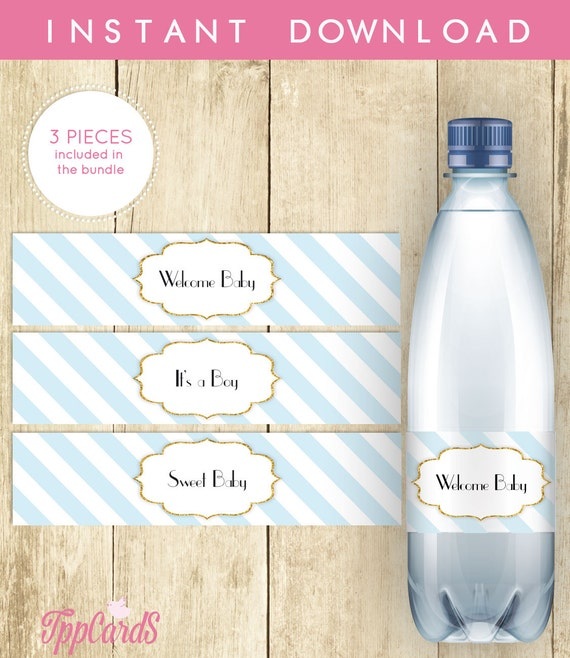 Blue And White Water Bottle Labels Baby Shower Printable
