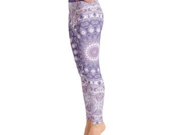 Mandala Leggings - Printed Leggings, Yoga Leggings, Art Leggings, Purple and Green Mandala Print Tights, Stretch Pants