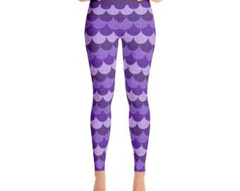 Mermaid Leggings in Purple - Fun Workout Clothes, Womens Yoga Pants