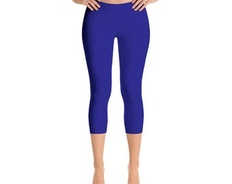 Capris - Navy Blue Yoga Pants, Yoga Leggings for Women, Mid Rise Waist Workout Pants