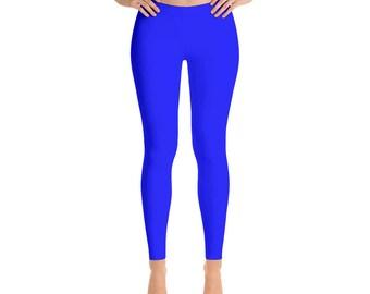 Blue Workout Pants - Womens Yoga Leggings, Mid Rise Waist Gym Pants