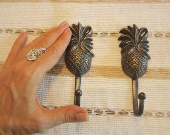 2x Pineapple Wall Hook, Brass Hanger, Set of 2 - Medium