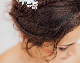 Bridal hair comb, Lace  Hair Comb, Hair comb Wedding, Gold Lace Bridal Hair Comb,  Lace Headpiece, french headpiece