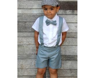 6m Boy Suspender Shorts-Grey,Linen Shorts,Page Boy,Christening Outfit,Ring Bearer,Baptism boy,Shorts with Braces,Wedding attendant boy