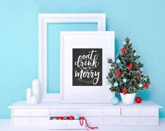 Christmas printable decoration, Eat Drink and Be Merry Sign, holiday wall art decor, Christmas Print - Christmas Art Christmas Decor Digital