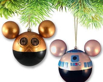 Set of (2) Large Mickey-shaped Ornament Set-R2D2 & C3PO (Star Wars Collection)