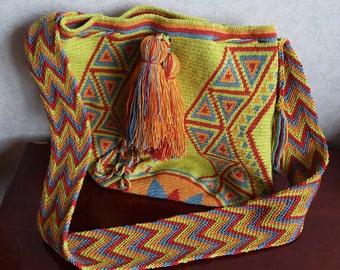 Large Wayuu Mochila Bag, Handmade, Original Wayuu Bag Handle, Unique, Multicolor, Perfect Gift