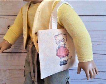 "American doll tote,Cat bag ,Doll purse,Tote bag for 18"" doll"