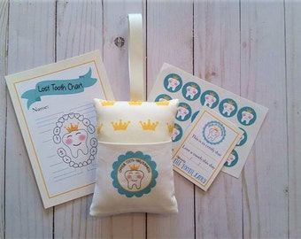 Tooth Fairy pillow, Crown fabric, Crown Tooth Fairy Kit, Prince and Princess tooth Fairy