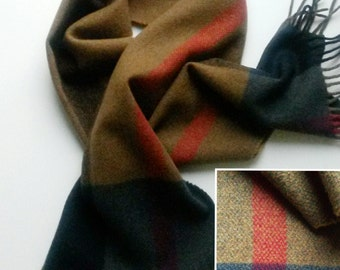 Trussardi Scarf Pure Wool scarf Vintage Muffler Foulard Shawl Wrap Made In Italy scarves Plaid Pattern men's unisex scarf designer scarf