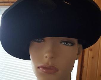 Black velvet fascinator steampunk hat,Vintage church hat