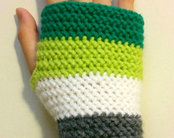 Aro Pride Crocheted Fingerless Gloves Handwarmers