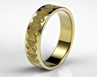 mens gold wedding ring with squares pattern mens gold wedding ring mens wedding ring - Gold Wedding Rings For Men