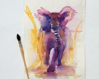 Original watercolor of an elephant, original animal painting, savanna animals, pink elephant, decoration children room
